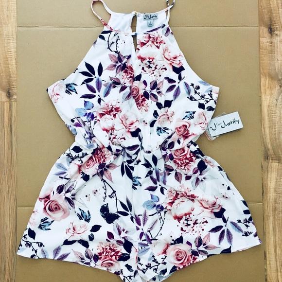 d3f8801c0 J for Justify Dresses | Nwt Floral Spaghetti Strap Romper L | Poshmark